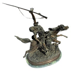 Arabe on Horseback, Lg Bronze, after Lecourtier, Marble Base 'Fantasia Arabe'