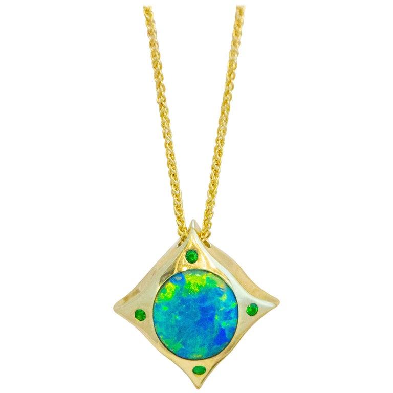 Arabesque 18 Karat Gold Solid Australian Opal Pendant Necklace For Sale
