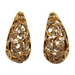 Arabesque 18 Karat Pink Gold 0.85 Carat Diamonds Hoop Earrings