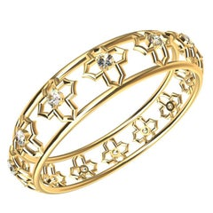 Arabesque 18ky Gold and GIA Certified Diamond Bangle