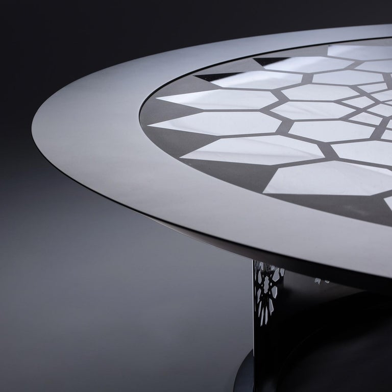Portuguese Arabesque Black Lacquer and Glass Coffee Table, Designed by João Faria For Sale
