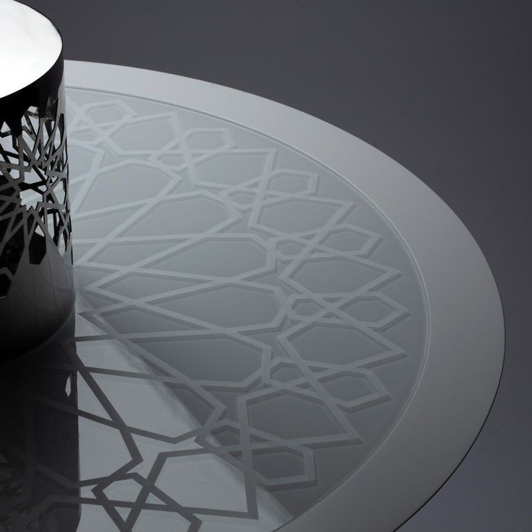 Arabesque Black Lacquer and Glass Coffee Table, Designed by João Faria In New Condition For Sale In Beverly Hills, CA