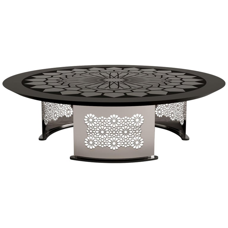 Arabesque Black Lacquer and Glass Coffee Table, Designed by João Faria For Sale