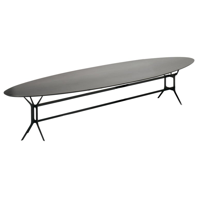 In Stock in Los Angeles, Arabesque Black Metal Dining Table, Made in Italy For Sale