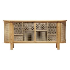 Arabesque Buffet with Laser Cut Panels and Rattan Details