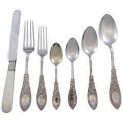 Arabesque by Whiting Sterling Silver Flatware Set 8 Service 56 Pieces Figural