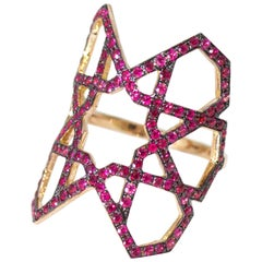 Arabesque Deco Rose Gold Ruby Ring