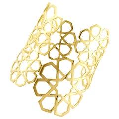 Ralph Masri Arabesque Deco Yellow Gold Cuff