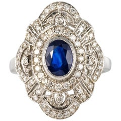 Arabesque Design Sapphire and Diamond Ring