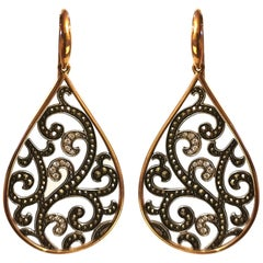 Arabesque Diamond on Yellow and White Gold Earrings