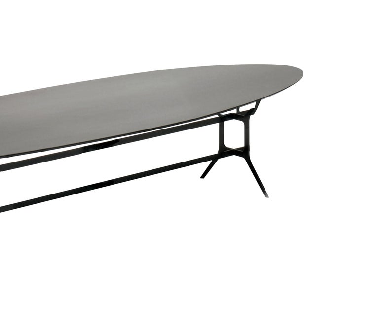Italian In Stock in Los Angeles, Arabesque Black Metal Dining Table, Made in Italy For Sale