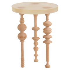 Arabesque-Inspired Oak Wood Side Table with Resin Top - Large