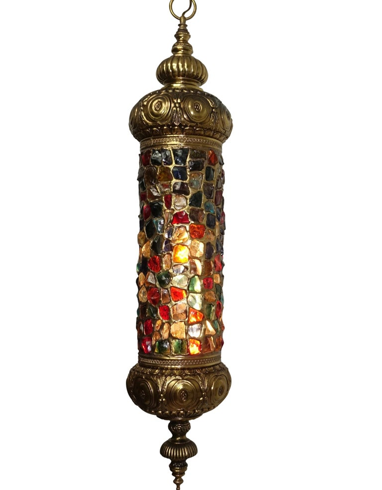 Mid-Century Modern Arabesque Style Brass and Multicolored Jewel Glass Lantern, American, 1940s For Sale