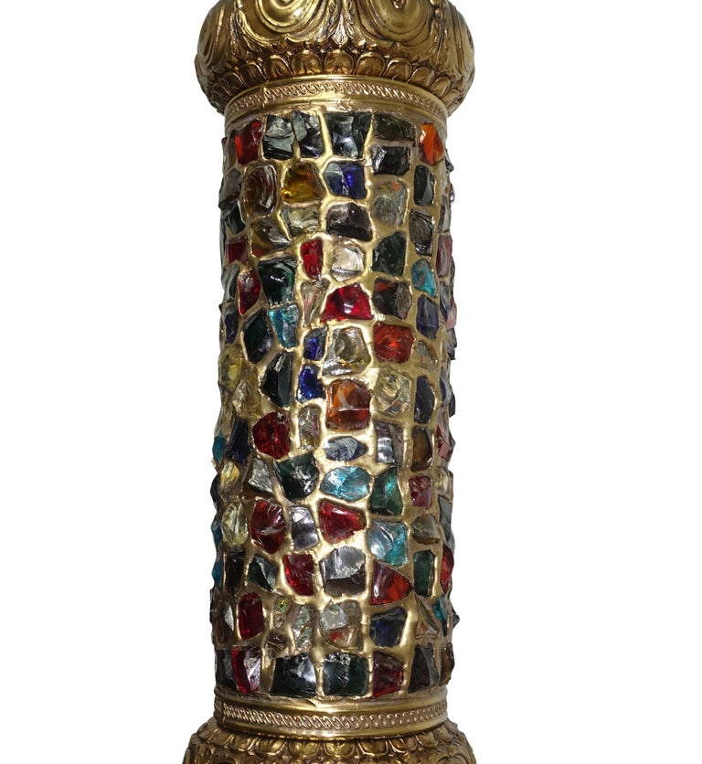 Arabesque Style Brass and Multicolored Jewel Glass Lantern, American, 1940s In Good Condition For Sale In San Francisco, CA