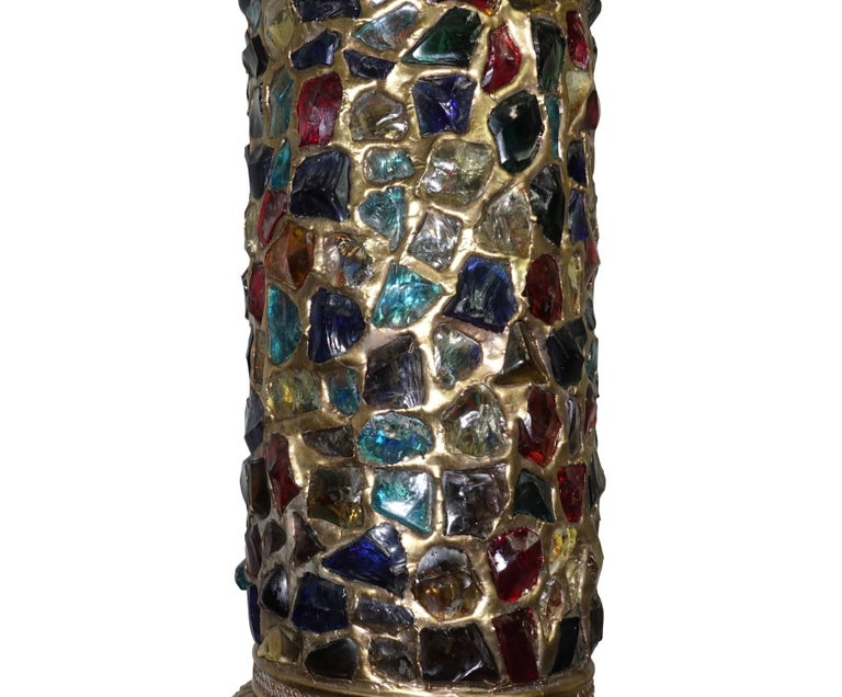 20th Century Arabesque Style Brass and Multicolored Jewel Glass Lantern, American, 1940s For Sale