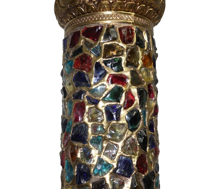 Arabesque Style Brass and Multicolored Jewel Glass Lantern, American, 1940s For Sale 1