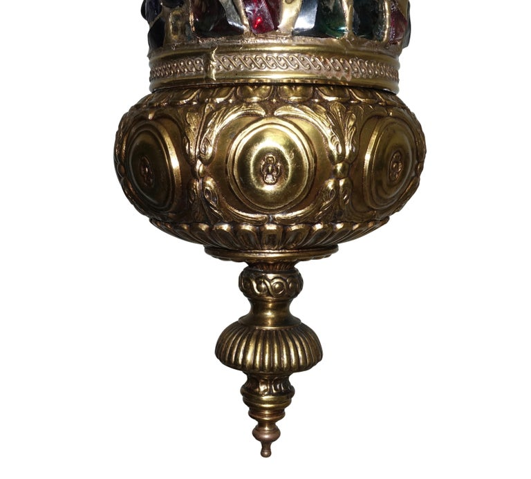 Arabesque Style Brass and Multicolored Jewel Glass Lantern, American, 1940s For Sale 2