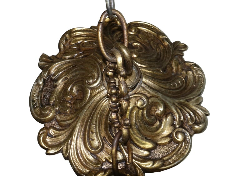 Arabesque Style Brass and Multicolored Jewel Glass Lantern, American, 1940s For Sale 4
