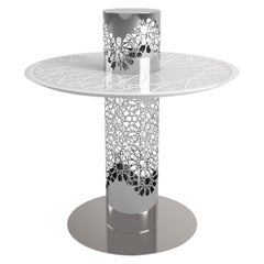 Arabesque White Frosted Glass Tea Table, Designed by João Faria