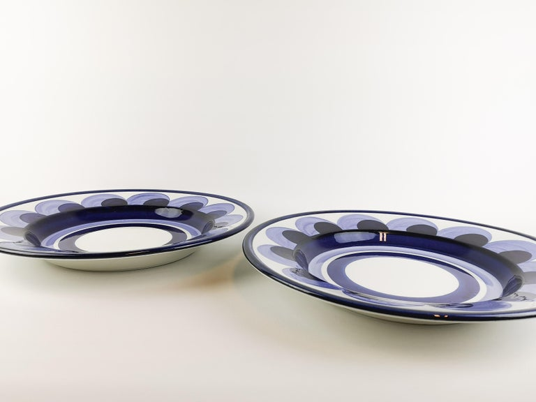 Scandinavian Modern Arabia 2 Large Plates Puja Hand Painted For Sale