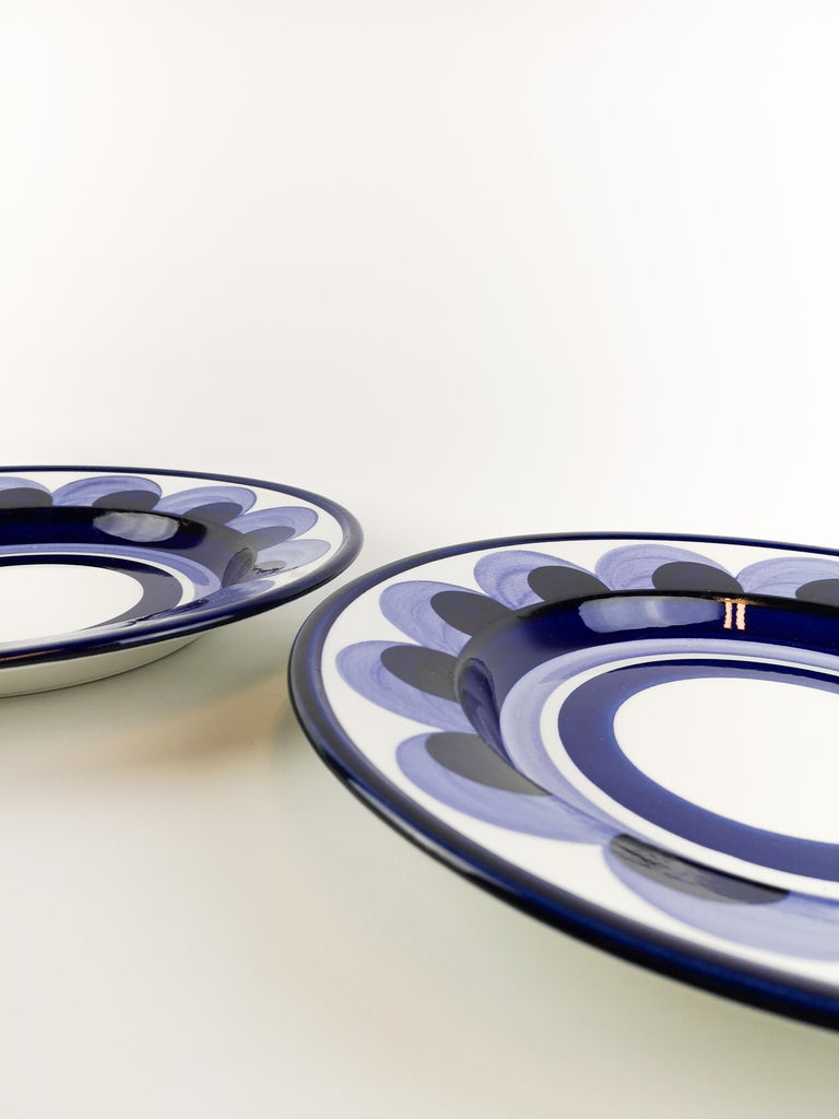 Finnish Arabia 2 Large Plates Puja Hand Painted For Sale