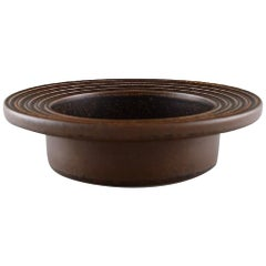 Arabia, Finland, Low Bowl in Glazed Ceramics with Grooved Edge, 1960s
