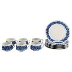Arabia, Finland, Retro Doria Porcelain Coffee Service with Floral Decoration