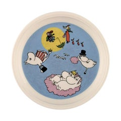 "Arabia, Finland, ""The Flying Moomins"" Porcelain Plate with Motif from ""Moomin"""