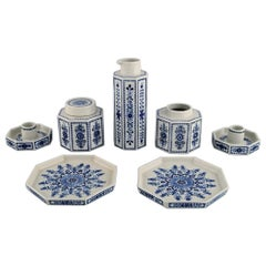 Arabia, Finland, Two Candlesticks, Two Dishes, Two Tea Caddies and a Jug