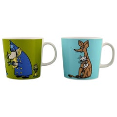 """Arabia, Finland, Two Cups in Porcelain with Motifs from """"Moomin"""""""