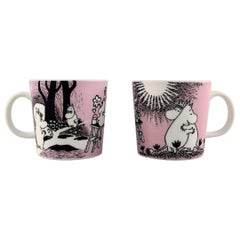 """Arabia Finland Two Cups in Porcelain with Motifs from """"Moomin"""" Late 20th Century"""