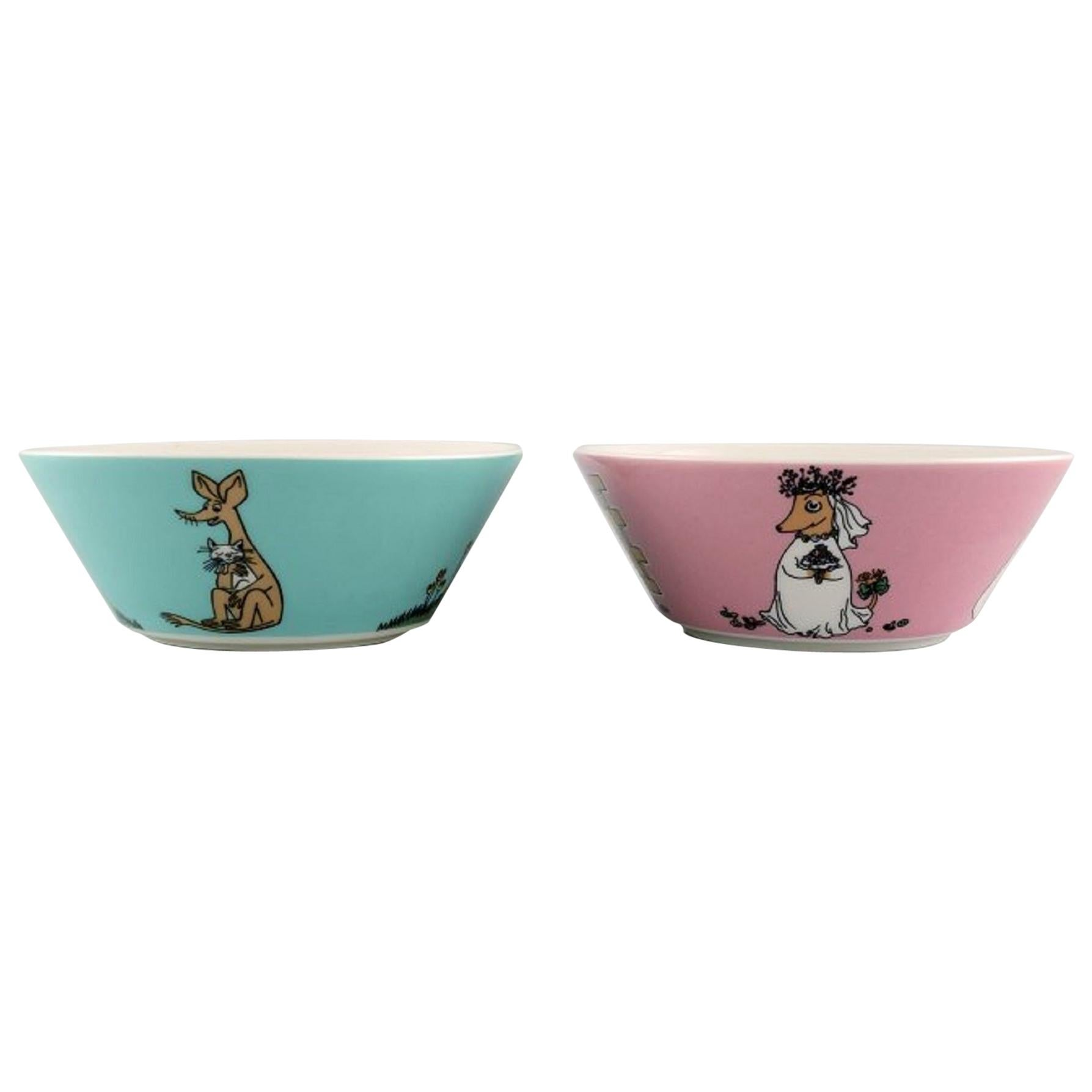 """Arabia, Finland, Two Porcelain Bowls with Motifs from """"Moomin"""""""