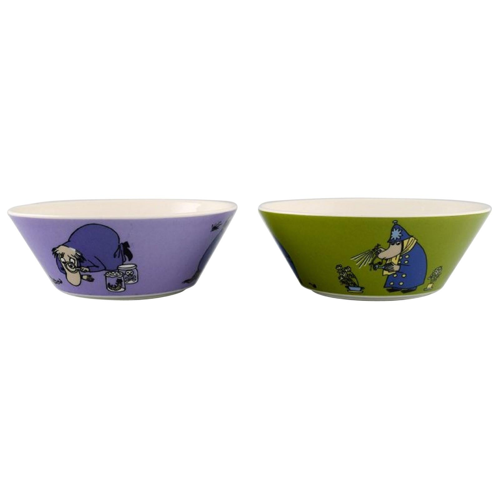 """Arabia, Finland, Two Porcelain Bowls with Motifs from """"Moomin"""" Late 20th Centuey"""