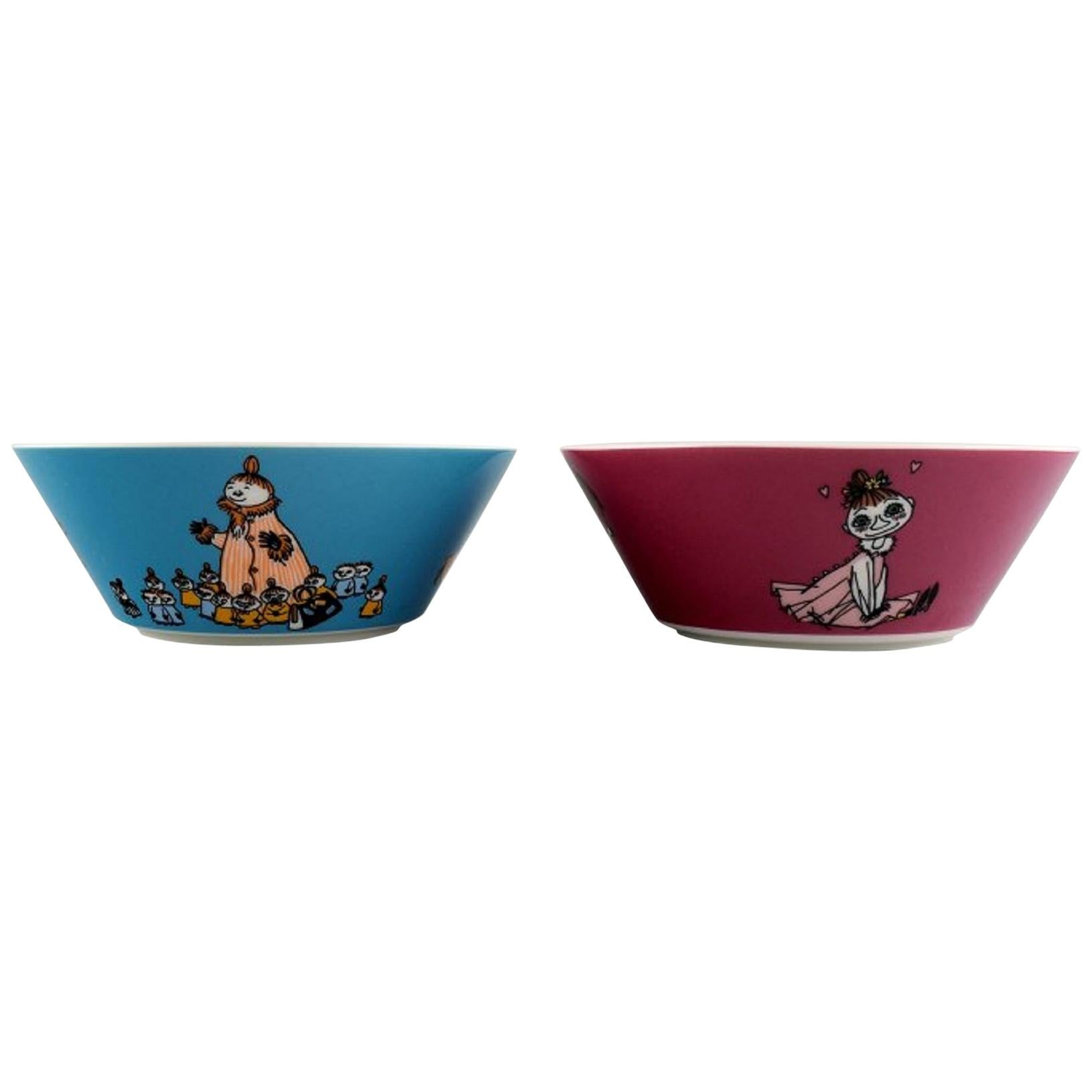 """Arabia, Finland, Two Porcelain Bowls with Motifs from """"Moomin"""" Late 20th Century"""