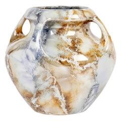 Arabia Finnish Art Deco Four Handled Lustre Glazed Art Pottery Vase