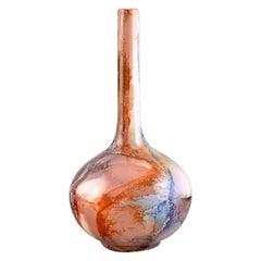 Arabia Vase in Glazed Ceramics, Beautiful Glaze with Multicolored Marble Effect