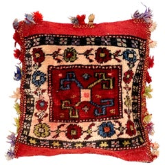 Arabian Turkish Oriental Salt Bag or Rug Embroidery Pillow