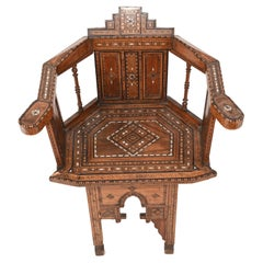 Arabic Arm Chair Antique Damascan Furniture Inlay, 1920