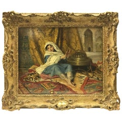 'Arabic Girl Warming Hands at Brazier', 1875 by J.B. Burgess (1830-1897)