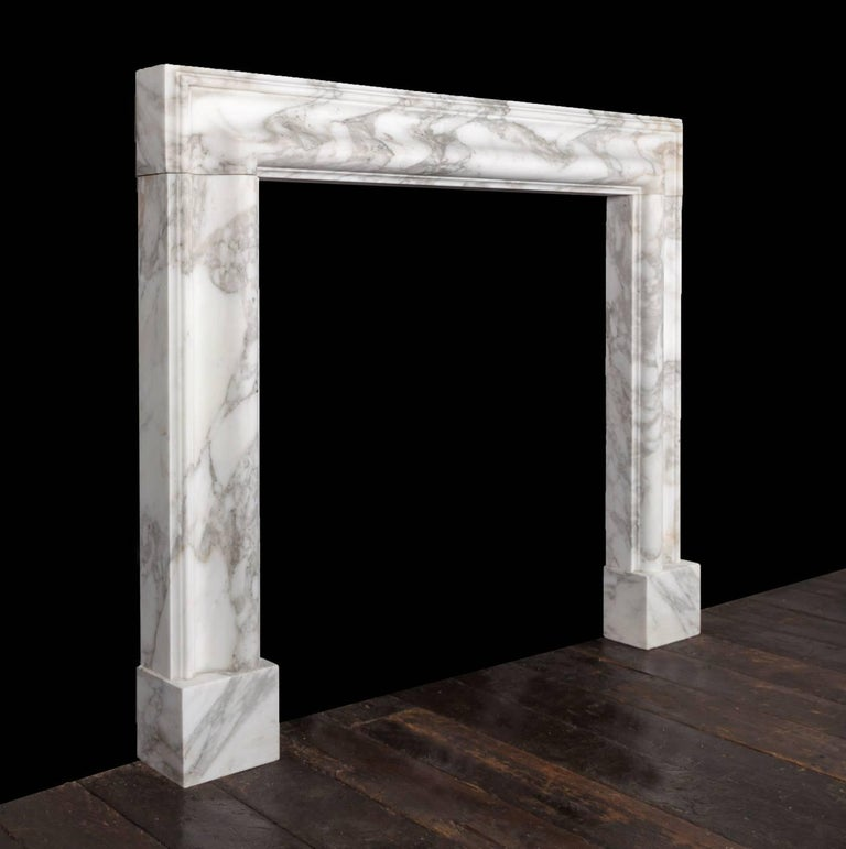 Baroque Ryan & Smith Arabscato Bolection Fireplace For Sale