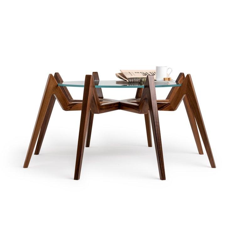 Modern Aracne Coffee Table, Walnut For Sale