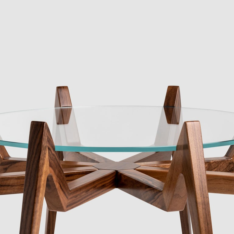 Italian Aracne Coffee Table, Walnut For Sale