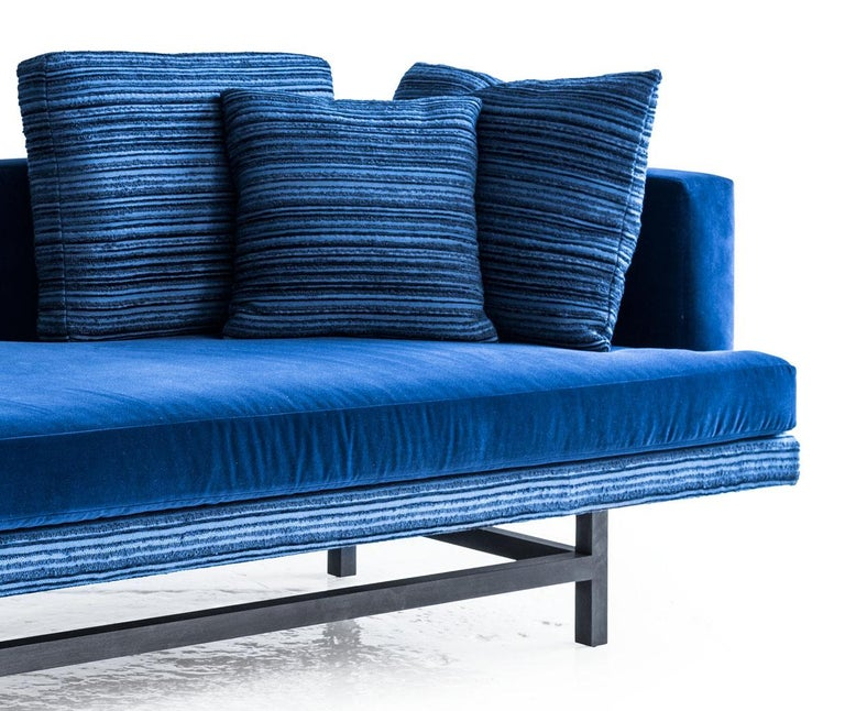American Aragon Chaise in Blue Cotton Velvet on an Ebonized Walnut Base, COM or COL For Sale
