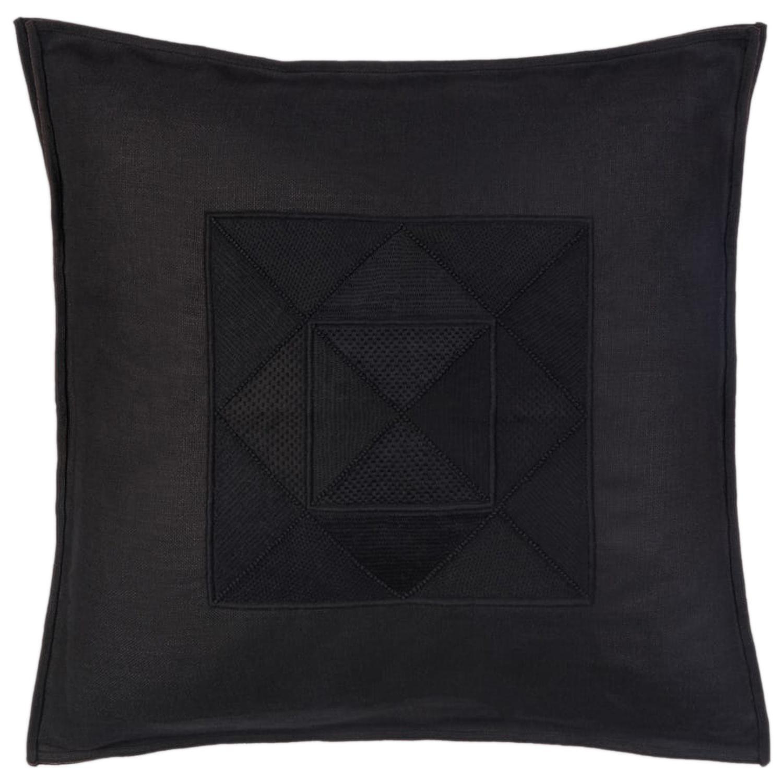 Arakawa Hand Embroidered Black Linen Pillow Cover