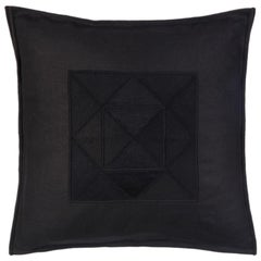 Arakawa Hand Embroidered Black Linen Pillow Cover