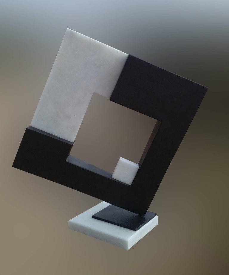 Space- original unic  contemporary iron marble  sculpture - Sculpture by Aramiz JUSTIZ