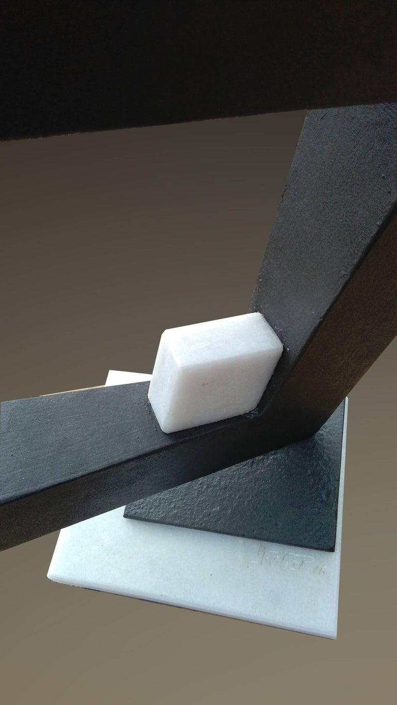 Space- original unic  contemporary iron marble  sculpture - Gray Abstract Sculpture by Aramiz JUSTIZ