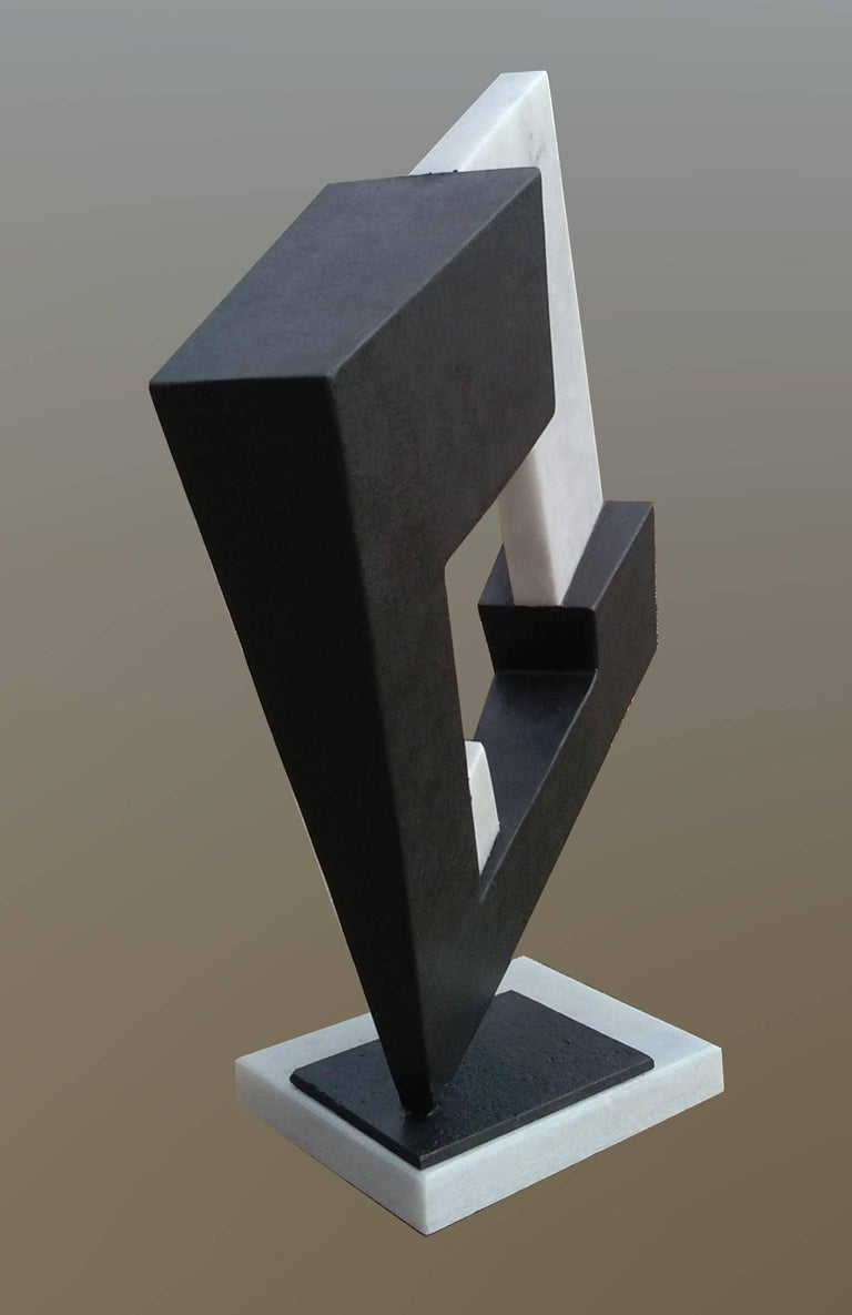 Space- original unic  contemporary iron marble  sculpture Original sculpture by the Cuban-Spanish artist Aramis JUSTIZ Iron and white marble Perfect state