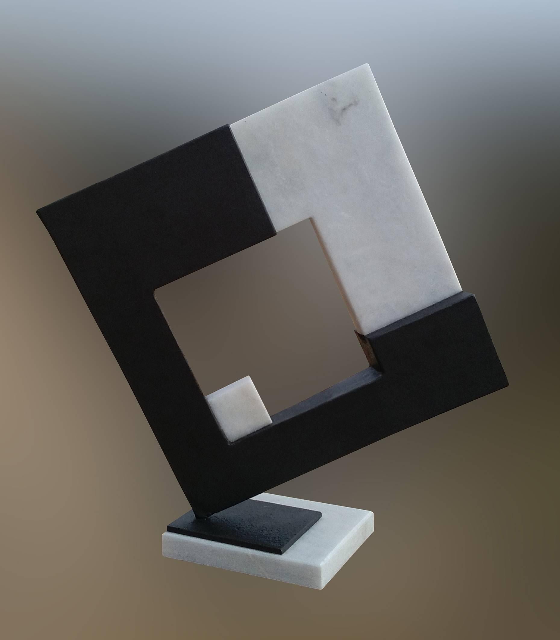 Space- original unic  contemporary iron marble  sculpture