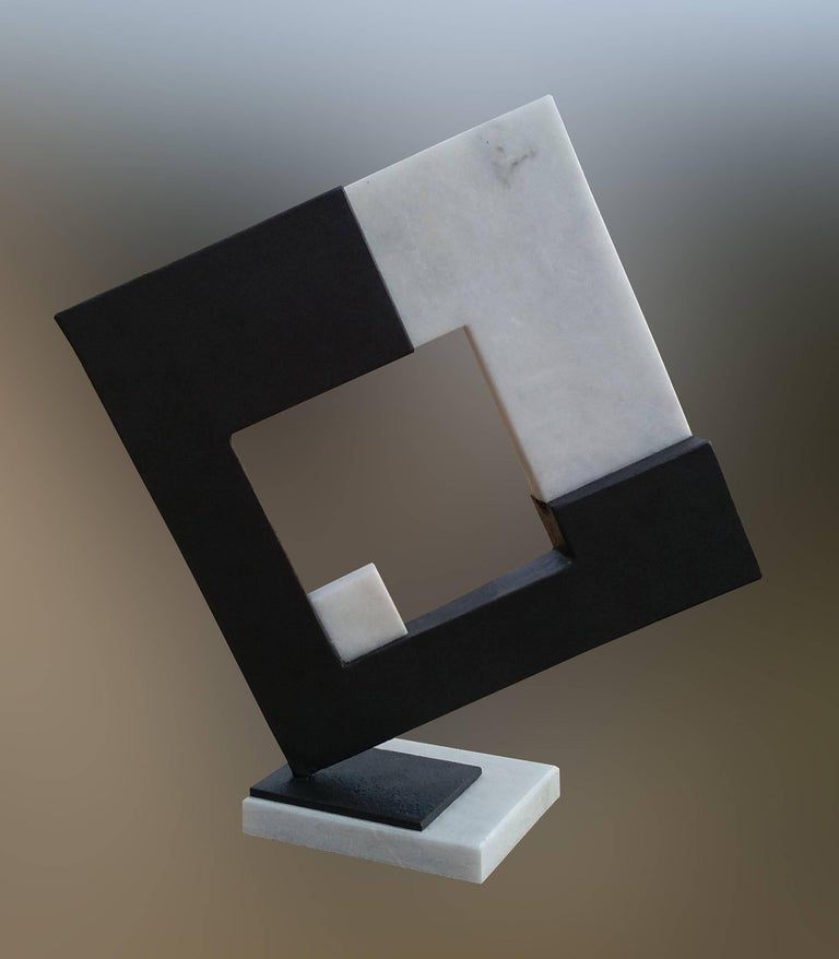 Aramiz JUSTIZ Abstract Sculpture - Space- original unic  contemporary iron marble  sculpture